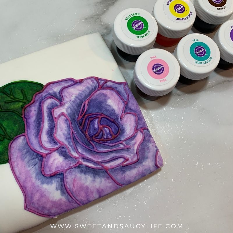 Purple Watercolor Rose on Decorated Sugar Cookie