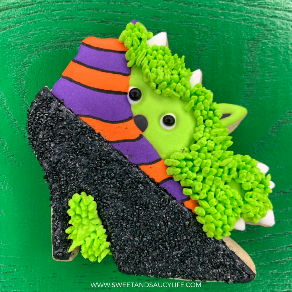 Halloween Monster Cookie with Witches' High Heel Shoe and Striped Socks