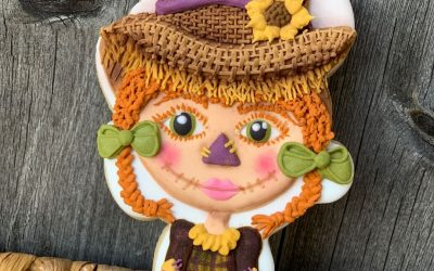 Little Scarecrow Girl Cookie Featuring Basketweave & Sunflower Techniques