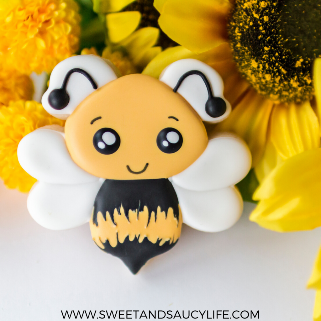 """Bee Kind"" bumblebee decorated sugar cookie"