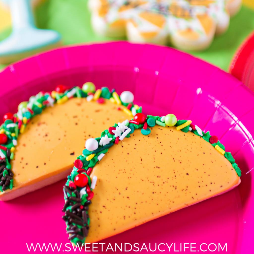 Taco decorated sugar cookie
